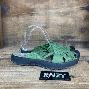 Keen Isabella Green Leather Slide Sandals
